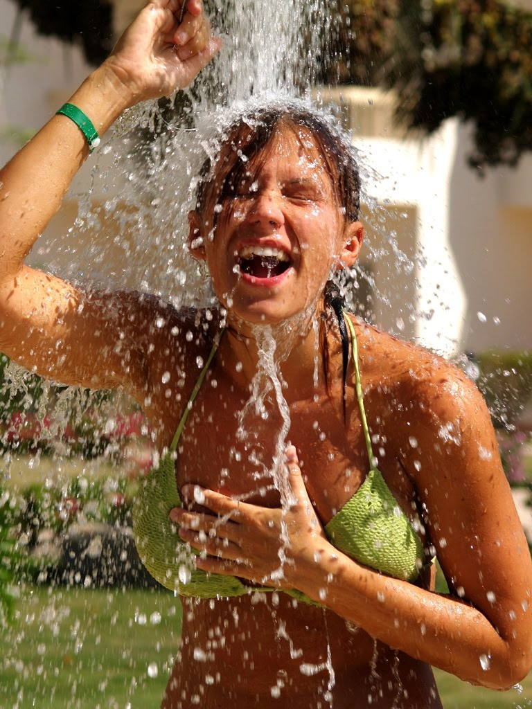 girl inflated with water